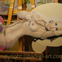 """""""Die Muse"""" mit Acrylfarbe auf Holz 2012"""