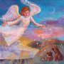ハツユキフラシの天使と挨拶をする動物たち 30×30㎝ アクリル 個人蔵