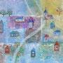 小さい白夜の村 17×11㎝ キャンバスボード アクリル (個人蔵)