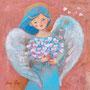 ハートの花束 アクリル キャンバスボード個人蔵
