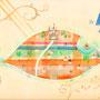 お城のあるはっぱの街  水彩 A4(個人蔵)