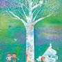 シロフクロウの樹の下で M8 アクリル 個人蔵