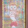フクロウの集会 ガラス絵 個人蔵