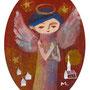竪琴を弾く天使 紙にガッシュ(個人蔵)