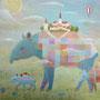 美味しい夢を探して F6号 キャンバス アクリル    展示予定あり