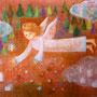 春を蒔く天使  キャンバスボード 180 ×130  アクリル 個人蔵