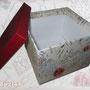 """Box mit """"alte Postkarten-Stoff bezogen, für Postkarten, Bilder, Erinnerungsstücke,..."""