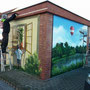 Karower Teiche als Wandbild auf die Fassade gesprüht