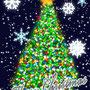"""自作のモミの葉風ブラシを試すために描いたクリスマスツリー(12月)""""1時間 Photoshop"""""""