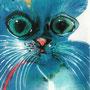 Blaue Katze, 1992 | Mischtechnik | 75 x 56 cm