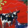 Kuh die gerade das lila Tischtuch frisst, 2005 | Öl-Acryl auf Leinwand | 120 x 100 cm