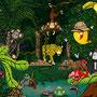 """Wimmelbild """"Lufti - Dschungel"""" / digitale Zeichnung / für TEVA"""