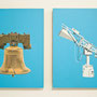 Serie Physik-Metaphysik: Freedombell-Hornantenne, 2013, Acrylic on wooden board, 24cm x 18cm