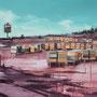 Der Ruf, 2011, Acrylic/collage on canvas, 90cm x 120cm