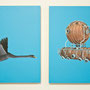 Serie Physik-Metaphysik: Schwan-Vacuumchamber, 2013, Acrylic on wooden board, 24cm x 18cm