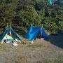 住人(長期滞在)のテントはブルーシートで強化