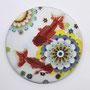 夏花-蘭鋳- Φ110mm 七宝釉 銅 銀線 金箔