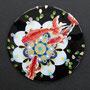夏花-小赤- Φ110mm 七宝釉 銅 銀線 金箔