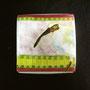 Nipponia nippon[朱鷺] 50×50×70mm 七宝釉 銅 銀線 硝子