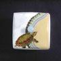 Geomyda japonica{リュウキュウヤマガメ] 50×50×70mm 七宝釉 銅 銀線 硝子