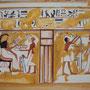 Detail der Scheintür, Farbrekonstruktion einer Szene aus dem Grab der königlichen Amme Maia in Sakkara, Ägyptenausstellung 2011 in Wiesbaden, Foto: Daniela Rutica