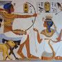Tutanchamun und Anchesenamun bei der Vogeljagd, Wandmalerei mit Naturfarben von Daniela Rutica, 2018