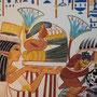 Maia mit Opfergaben, Farbrekonstruktion einer Szene aus dem Grab der königlichen Amme Maia in Sakkara, Ägyptenausstellung 2011 in Wiesbaden, Foto: Daniela Rutica