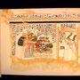 Maia mit Opfergaben vor Osiris und Isis, Farbrekonstruktion einer Szene aus dem Grab der königlichen Amme Maia in Sakkara, Ägyptenausstellung 2013 in Ludwigsburg, Foto: Daniela Rutica