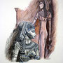 "Daniela Rutica, ""Kleopatra und Isis"", Farbstifte/Papier, 2008"