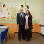 mein Mann und ich vor der halbfertigen Wandmalerei