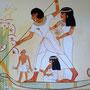 ägyptische Wandmalerei - Menna und seine Familie bei der Fisch- und Vogeljagd, Photo und Malerei: Daniela Rutica