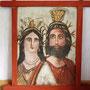 """Daniela Rutica, Holztafelbild """"Isis und Serapis II"""", Kasein/Holz, 2014, Holzarbeiten von R. Bastigkeit"""