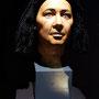 rekonstruierter Kopf mit Perücke des Idu in der Ausstellung im Roemer-und Pelizaeus-Museum