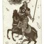 Schmiedel, Robert. Leipzig, Radierung 2012. Blatt 190 x 140 mm. Platte 125 x 80 mm. Zweiter Apokalyptischer Raiter