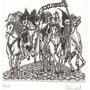 Kopczynska, Karina. Stettin, Polen. Radierung 2013. Auflage 70. Blatt 180 x 170 mm. Platte 100 x 95 mm. Die 4 Apokalyptischen Reiter