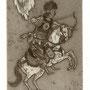 Schmiedel, Robert. Leipzig, Radierung 2012. Blatt 190 x 140 mm. Platte 125 x 85 mm. Erster Apolkalyptischer Raiter