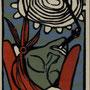Lange, Andrea . Kemberg. Holzschnitt. 2011. Auflage 45. Blatt 130 x 100 mm. Platte 125 x 90 mm.  Whisky Etikett. 001