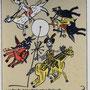 Natus - Salamoun, Eva . Halle. Lithographie, 2010. Blatt 165 x 135 mm. Die 4 Apokalyptischen Reiter.  002