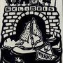 Küster, Heike . Wenzendorf. Holzschnitt, 2009. Auflage 50. Blatt 210 x 145 mm. F.J.Degenhardts Song  Siel nicht mit den Schmuddelkindern...001
