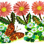 ガーベラと蝶