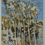 Eucalyptustrees in landscape- acryl.pencil and sand on paper - 30 x 24 cm