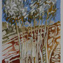 Eucalyptustrees 3 - acryl,pencil and sand on paper - 30 x 24 cm