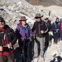 Gletscherwanderer: Dennis, Michelle, Geoff, Bernice, Heike und Biru
