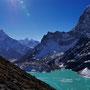 Der Chola Gletscher fließt von rechts in den See hinein