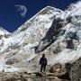 Heike mit der Westschulter des Everest in Hintergrund: den Gipfel sieht man vom Khumbu Gletscher aus nicht