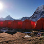 Camp im Schnee in Dzongla