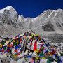 Wir sind da: das berühmte Everest Basecamp auf dem Khumbu Gletscher