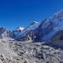Khumbutse (6640 m), Changtse (7543 m), Westschulter des Everest (7205 m) und Nuptse (7745 m)