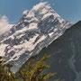 Und hier ist er in seiner vollen Pracht: Mount Cook - der höchste Berg Neuseelands
