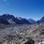 Bildmitte im Hintergrund: Kangatega (6779 m) und Thamserku (6608 m); rechts: Taboche (6543 m)